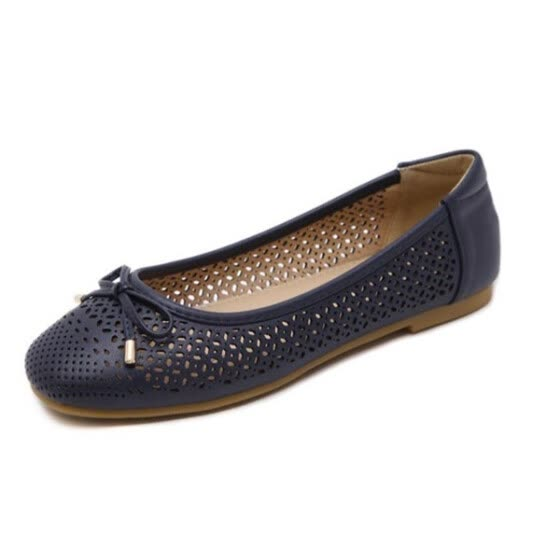 women ballet flat shoes dancing party work office career slip on round toe loafer bowtie breathable comfy