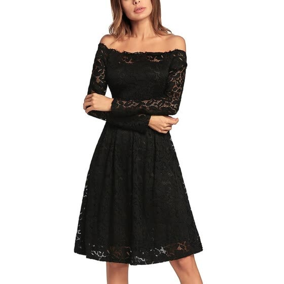 Vintage Lace Off the Shoulder Long Sleeve A Line Pleated Dress Homecoming Dress