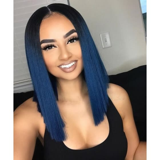 Shop T Top Hair Blue Ombre Short Bob With Dark Roots Lace Front