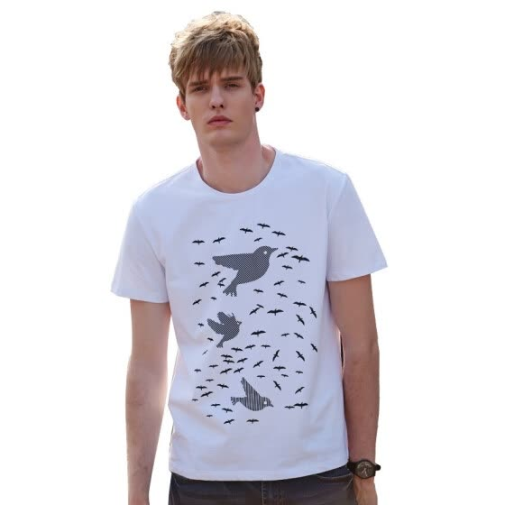 Brush Finch White Men's Crewneck Athletic Shirt Short-Sleeve Basic Tee Tops Loose Bird Casual Tees Shirt