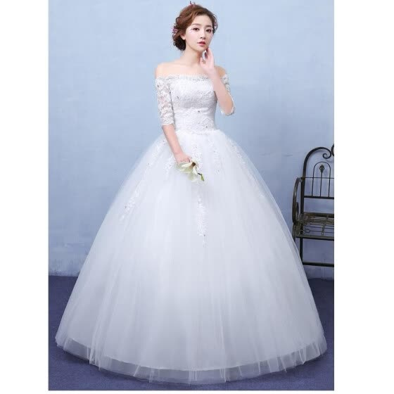 Ball Gown OFF the Shoulder Floor Length Satin Tulle Wedding Dress with Flower by Embroidered bridal