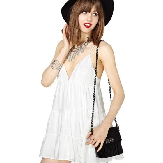 0f81f0c567ba Europe Women's Ladies White Cotton Deep V Collar Hanging Neck Sleeveless  Dress