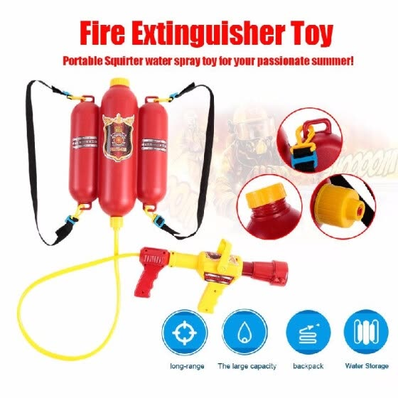 Fireman Toys Backpack Water Spraying Toy Blaster Extinguisher with Nozzle And Tank Set Children Outdoor Water Beach Toy for Kids G