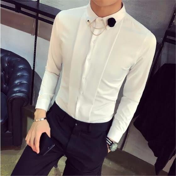 59af342a6d2 High Quality Tuxedo Shirt Men Slim Fit Long Sleeve Solid Social Party Dress  Shirts Night Club