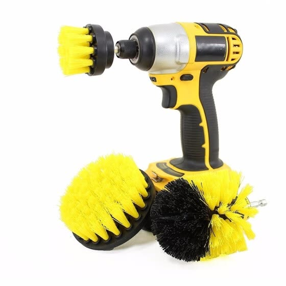 3-in-1 Electric Drill Brush Head for Floor / Kitchen / Tire / Tub medium stiffness Durable nylon bristles Quick shift shaft
