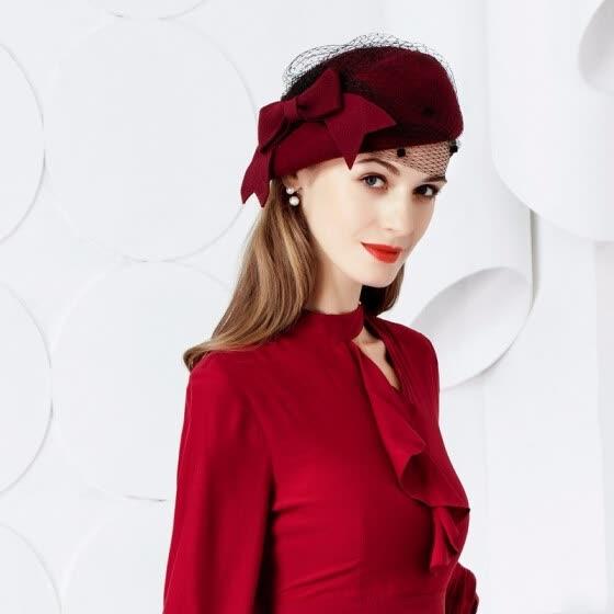 New Fashion Wool Hat Women Vintage Red Ladies Wool Felt Winter Fascinator  Pillbox Hats Fedoras with b0598a7bcad
