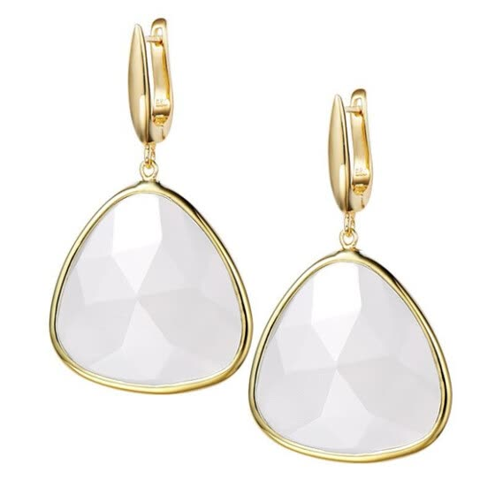 15Ct Natural White Chalcedony 16x16mm Trilliant Shape 925 Sterling Silver Dangle Earrings