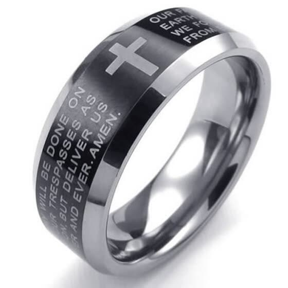 Hpolw Mens Tungsten steel Black&Silve cross Ring Carved with sacred Fu Wen/English Lords Prayer  fashion ring