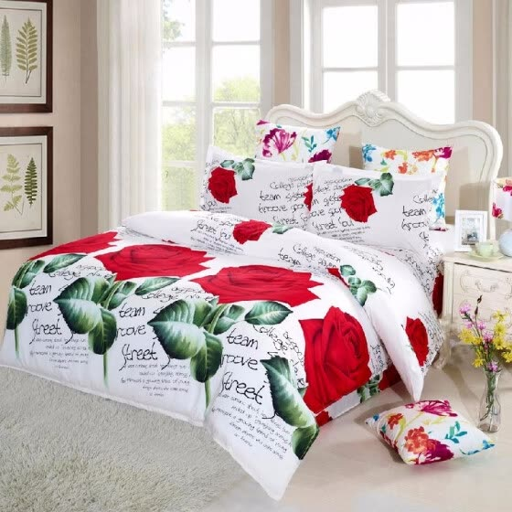 4pcs 3D Flowers Bedding Set Queen/King Quilt Cover Bedspread 2 Pillowcases For Home & Living