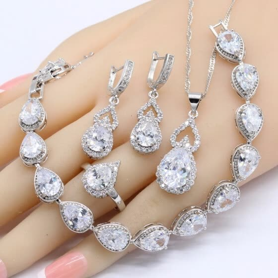Shop White Topaz 925 Silver Jewelry Sets Women Birthday Gift