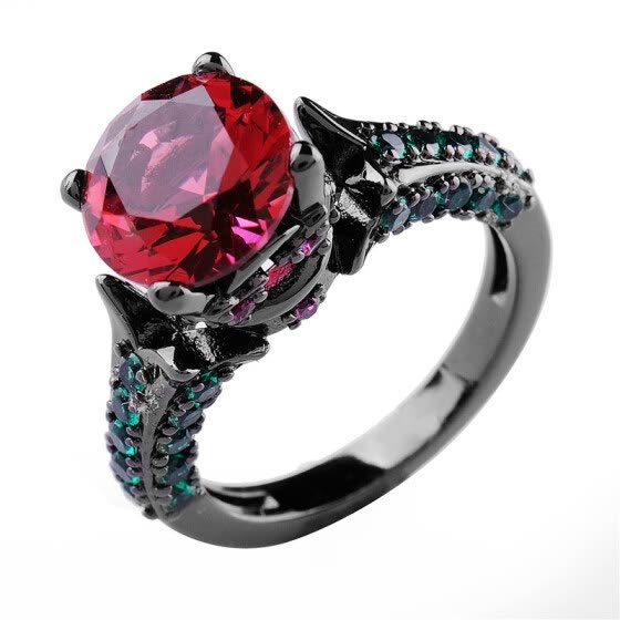 Aiyaya Vintage Style 12kt Black Gold Plated 4 Claw Setting Ruby Gemstones Fulfill Small Crystal Band Rings