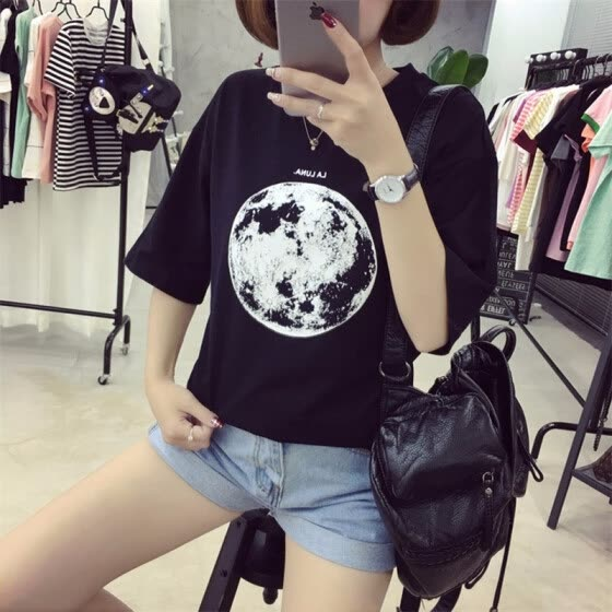 Summer New Personality Planet Moon Printed Loose T Shirts Women Short Sleeve White T-shirt