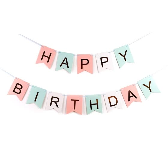 Happy Birthday Wall Banner Tri Color Pink GreenWhite Party Decorations Versatile