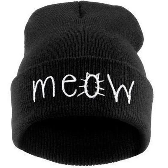 06440c85246 Fashion MEOW Cap Men Casual Hip-Hop Hats Knitted Wool Skullies Beanie Hat  Warm Winter