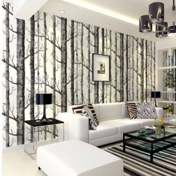 shop birch tree pattern non woven woods wallpaper roll modern designer wallcovering simple black and white wallpaper for living room online from best wall stickers murals on jd com global site joybuy com shop birch tree pattern non woven woods