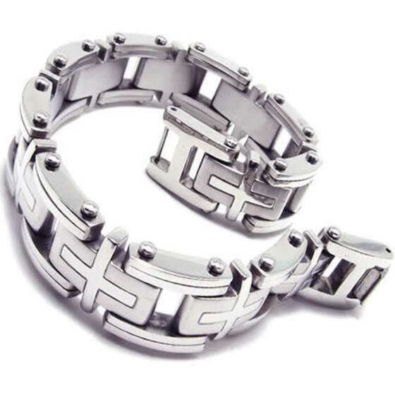 Hpolw Heavy Cross Investment Casting Stainless Steel Men's Biker  silver Lobster Clasps Bracelet