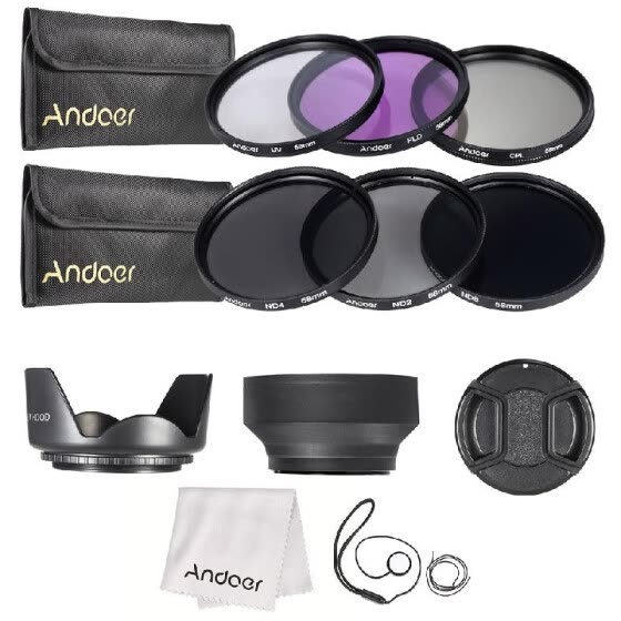 49mm/52mm/55mm /58mm/62mm/67mm/72mm UV CPL FLD ND 2 4 8 Lens Filter Kit Pouch + Hood + Cap for Canon Nikon X9I6