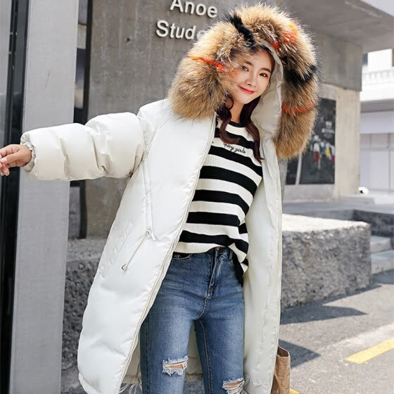 Yu Zhaolin 2018 winter new Korean fashion down jacket cotton jacket large fur collar long paragraph wild cotton clothing female YWMF188520 beige M