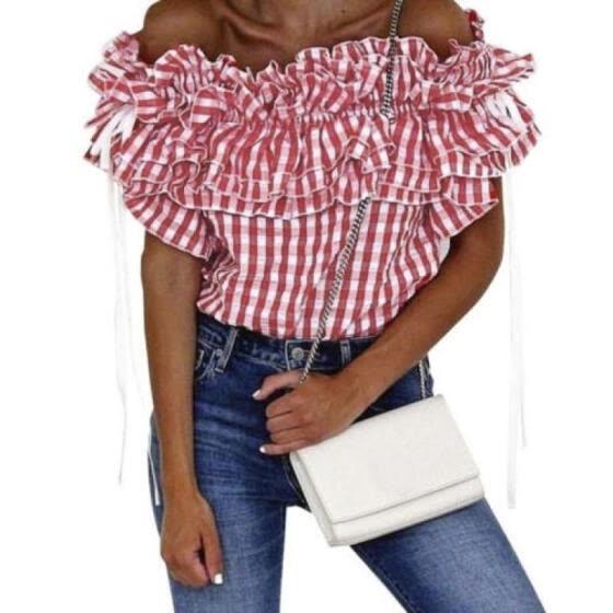 3a23f9e11890d UK Women Off Shoulder Bardot Casual T-Shirt Ladies Summer Ruffle Bodycon  Tops