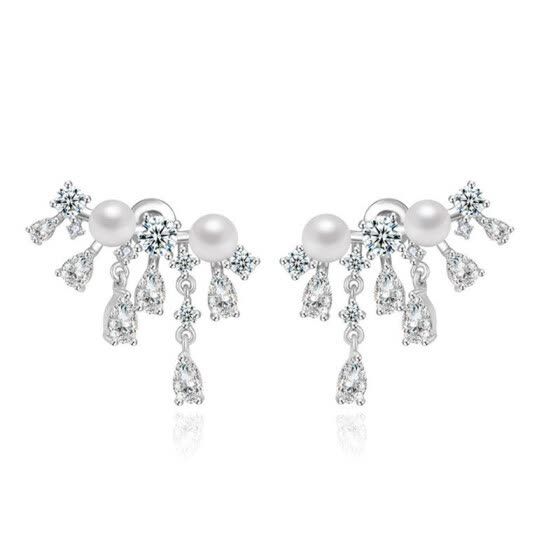 Aiyaya Fashion Jewelry Waterdrop Round Cubic Zircon Simulated Pearl Earrings High Quality