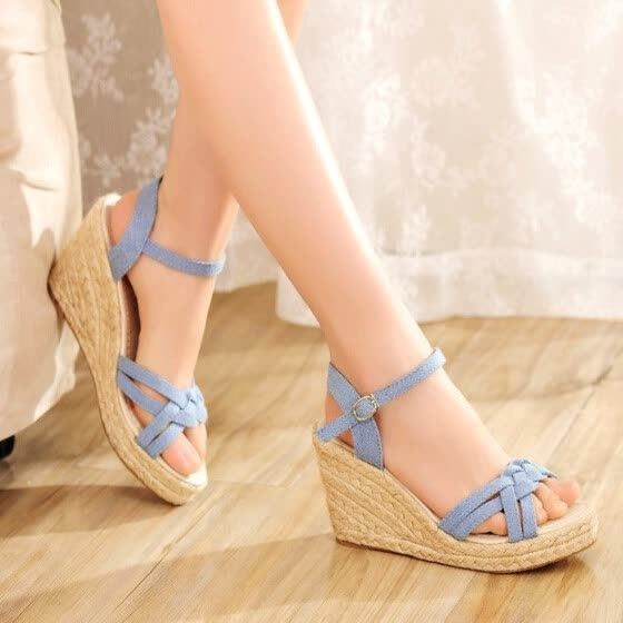591435b88f31ac women wedges sandals ankle strap espadrilles shoes thick sole platform  canvas Jean cloth sandals spring summer