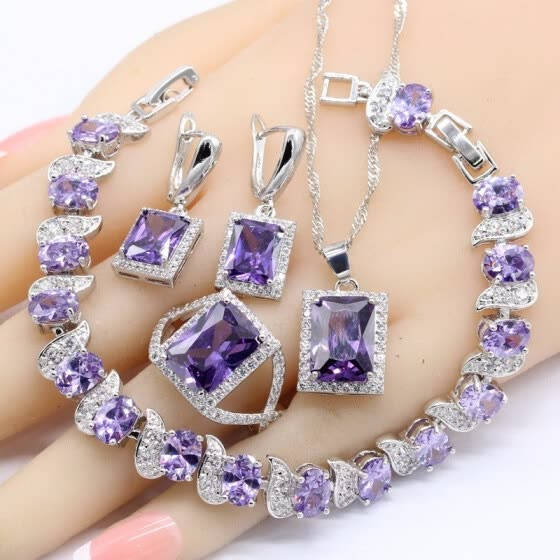 Square Pureple Amethyst 925 Silver Bridal Jewelry Sets For Women Bracelet Earrings Necklace Pendant