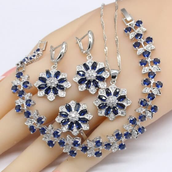 Flower Shape Blue Sapphire 925 Silver Jewelry Sets For Women Bracelet Earrings Necklace Pendant Rings