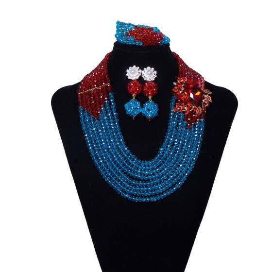6f95ec4c4 Fashion 8 Row Yellow Red Necklace Sets For Women African Beads Jewelry Set  Nigerian Wedding Dubai