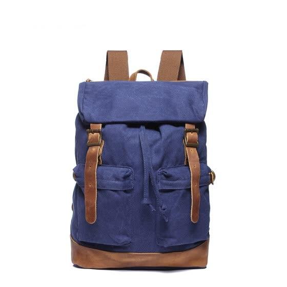 1410e4291 Retro Vintage canvas Travel Bag Pockets Roll top adjustable belt laptop  Large Capacity Designer backpack women