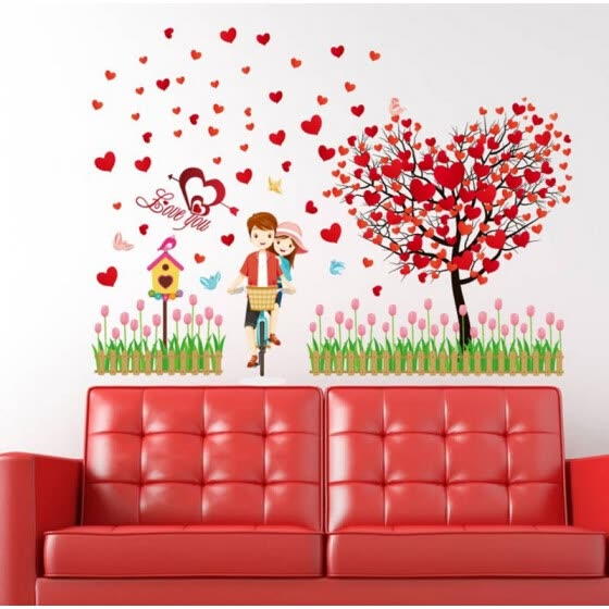 Romantic Love Heart Tree Wall Stickers Decoration Wedding Bedroom Home Wall  Decals