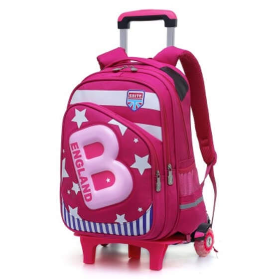 Removable School Backpack Trolley 2 6 Wheel Girl travel Bags Waterproof  Wheeled Children Schoolbag Fashion 7278cf667aabc