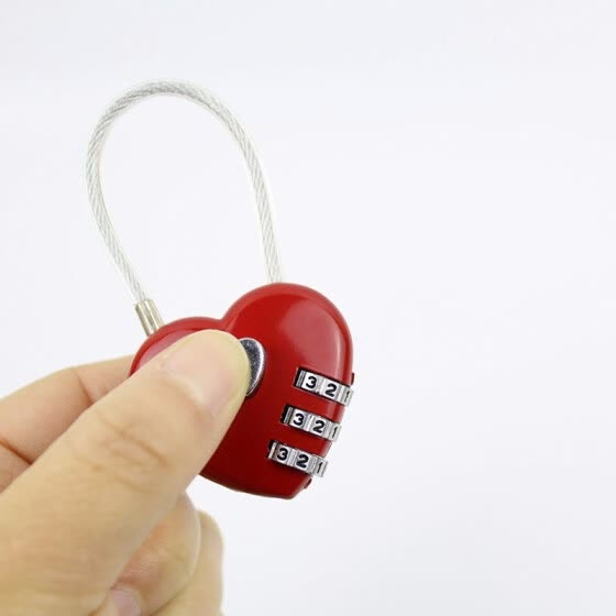 Mini metal love luggage password padlocks wire rope gym safe deposit box drawer handbag password lock