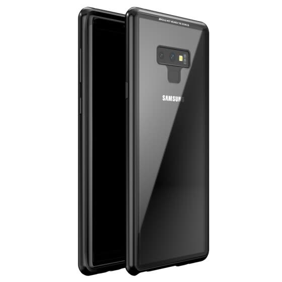For Samsung Galaxy Note 9 Case Magnetic Adsorption Metal Bumper 9H Tempered Glass Back Cover Slim Hard Shockproof Case