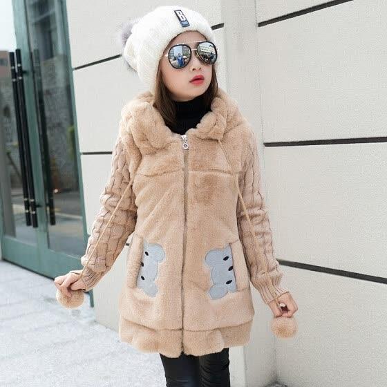 aaf3f52d302ba Lovely little bear Winter Girls clothing Faux Fur Fleece Coat Warm Jacket  Xmas Snowsuit Outerwear Children