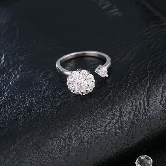 Shop Romantic Rotatable Ring Women Wedding Rings Pink Crystal