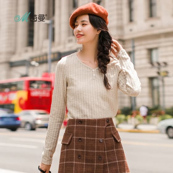 INMAN 2018 autumn new solid color V-neck button literary fan vertical stripes long-sleeved T-shirt female 18830VP21221 meters white XL