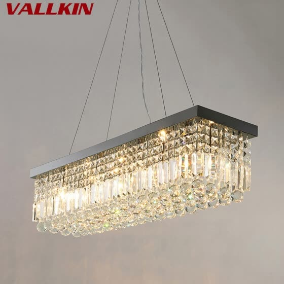 Rectangle Led Crystal Chandeliers Lighting Light Contemporary Hanging Lights Modern Pendant Lamp Fixtures