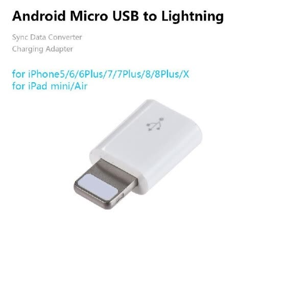 Android Micro USB Female to Lightning Male Sync Data Converter Charging Adapter for iPhone 8 Plus