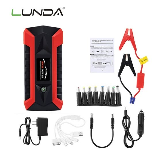 LUNDA 68000 mWh Car Jump Starter for Petrol Car Battery Charger Emergency 60C Discharge Auto Starting High Power Pack Bank
