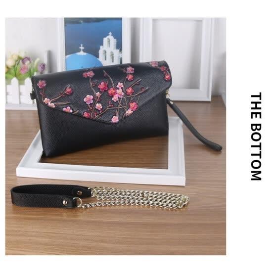 6521b5173 Fashion Genuine Leather Plum Flower Pack Shoulder Bag Crossbody Package  Clutch Women Designer Wallet Chain Handbags