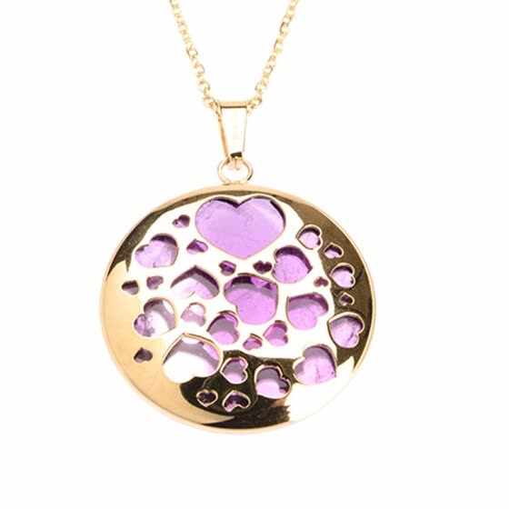 Round  Heart Design Purple Quartz Crystal Pendant Stainless Steel Necklaces 17""