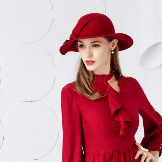 9e1cd15ef39 2018 New Elegant Fashion Hair Red Hat All-match Wool Hat Female Leisure  Woolen Cap