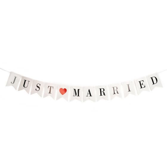 Shop Just Married Banner Wedding Decor Bunting Photo Booth Props