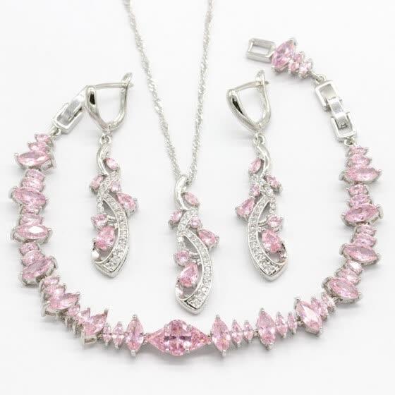 fab8f10a6a63 2018 Nueva Llegada Rosa Semi-Precioso 925 Conjuntos de Joyas de Plata Para  Las Mujeres