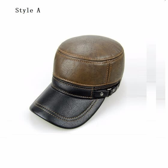 4be9cc72212 Cowskin Genuine Leather Baseball Caps Men Warm Earflap Hat Cowhide Cap Cow  Leather Flat Top Snapback