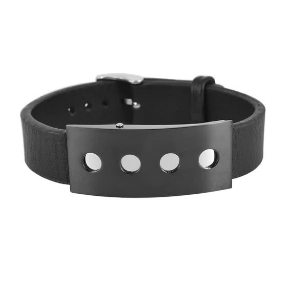 4 Little Round Holes Stainless Steel Plate Men's Genuine Leather Bracelet Watch Band Bangle