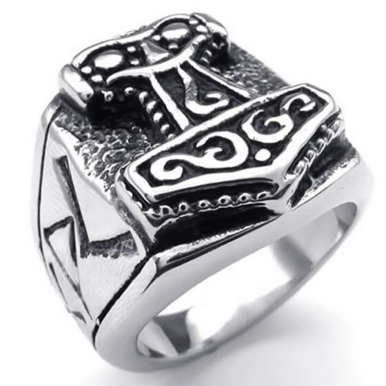 Hpolw New Design Massiness Vintage popular black&silver Stainless Steel Band Myth Thor's Hammer men's Ring