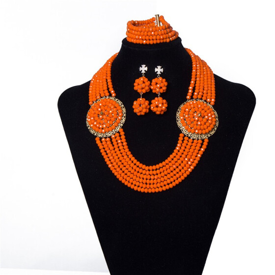 Orange Coral Fashion Women Wedding Necklace African Nigerian Party Jewelry Sets