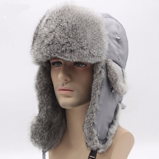 3a4e8c81b958e Bomber Trapper Hats Thick Winter Warm Rabbit Fur Hat Rex Snow Caps Ear Flap  Caps ushanka