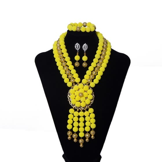 Royal Pearl Necklace And Earring Set Nigerian Wedding African Beads Jewelry Set Crystal Beaded Bridal Jewelry Set Free Shipping